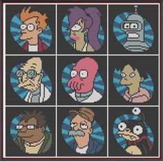 Futurama - Minis x-stitch pattern, $5.00 (TV, Adult Swim, Bender, Leela, Fry, Zoidberg, Sci-Fi, cartoon, geek, nerd)