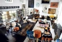 Jaw dropping interior, home of Mario Testino. The dress is to die for!