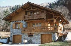 Chalets tardy - pierre et bois German Houses, Rustic Houses Exterior, H & M Home, House With Porch, Spanish House, Metal Homes, Stone Houses, Winter House, Log Homes