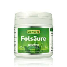 Greenfood Folsäure, 1000µg, hochdosiert, 180 Tabletten