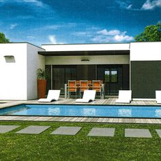 A house in phase with its time - Flat Roof House, House Plans, Sweet Home, Construction, Exterior, House Design, How To Plan, Mansions, House Styles