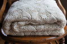 Hand Crocheted Bedspread Vintage Ivory by smileitsvintage on Etsy, $57.00