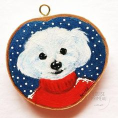 Custom pet portraits on wood slices. Your dog or cat ( or other pet) painted on a wood slice by Ottawa custom pet portraits artist, Louise Primeau. Diy Photo Ornaments, Pet Dogs, Pets, Dog Paintings, Wood Slices, Christmas Baubles, Dog Art, Poinsettia, Cardinals
