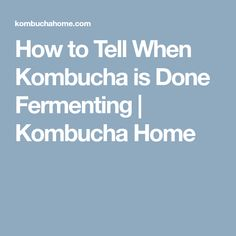 How to Tell When Kombucha is Done Fermenting | Kombucha Home
