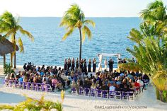Up High perspective of Wedding Ceremony at the Key Largo Marriott.  Photography by McLaughlinPhotoVideo.com. #BeachWedding