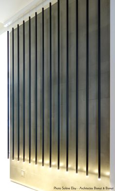Néons sur un décor en Etain (métallisation à froid), architectes Bismut&Bismut, réalisation l'Atelier du Mur