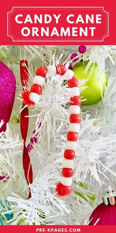 Easy Candy Cane Ornament. Beaded candy cane ornaments are one of the easiest crafts you can make with your kids, and they're loaded with educational benefits too! Your kids will have so much fun stringing beads on pipe cleaners they won't even know they're practicing counting, patterning, and fine motor skills. Family and friends just love these keepsake pipe cleaner ornaments too! Head to the blog to learn more about the benefits and ways to make the cute ornaments! #Christmasornaments #prek Preschool Christmas Crafts, Kids Christmas Ornaments, Christmas Activities, Xmas Crafts, Christmas Ideas, Candy Cane Ornament, Craft Projects For Kids, Pipe Cleaners, Motor Skills