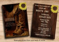 Country Western Cowgirl Bridal Shower Rustic Invitations Printable PDF Invites #BridalShower