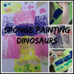Dinosaur Sponge Painting for kids. Ideal for toddlers and preschoolers.