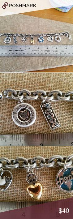 Peace Brighton charm bracelet Very sweet Peace charm bracelet is in like new condition Brighton Jewelry Bracelets