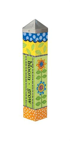 """This+20""""+Art+Pole+is+a+perfect+way+to+dress+up+a+planter+or+garden+area.+The+artwork+is+laminated+onto+a+lightweight+PVC+pole+for+fade-resistance,+durability,+&+reduced+shipping+cost.+Easy+to+install.+Hardware+included.+Patent+pending.+ Artist+Lynn+Morris+ Dimensions:+20""""+x+4""""+x+4"""" Please+no..."""