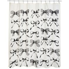 ModCloth Darling Bathing Cutie Shower Curtain (170 BRL) ❤ liked on Polyvore featuring home, bed & bath, bath, shower curtains, cotton shower curtains and black shower curtains