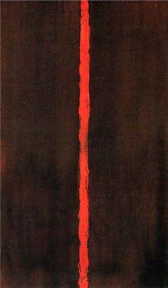 Barnett Newman, Onement I, 1948 | Bekend voor zijn 'Zips', streep wordt object, flits, vorm, voor- en achtergrond, kleur -> verschil