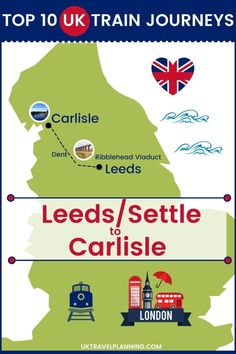 Traveling the UK by rail is a wonderful way to see the country. Check out our top 10 train trips and scenic rail journeys to take across the UK. Leeds to Carlisle #UK #travel #trains #rail #railway Ribblehead Viaduct, Uk Rail, Journey Mapping, Train Journey, Carlisle, Train Travel, Leeds, Trains, Britain