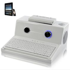 Retro Style Speaker Dock - Bluetooth Keyboard, 5W Subwoofer, USB and MicroSD Support =====> Charge your docked device while listening to your favorite music streamed to the dock using Bluetooth or use the built in USB port to connect your device. The Retro Dock also supports MicroSD cards and Audio IN (3.5mm) for music playback. The included Bluetooth Keyboard will make writing tasks on your device easy can be taken out of the dock for maximum freedom whilst writing.