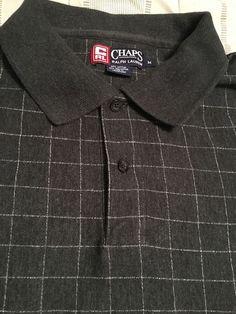 Men's CHAPS by Ralph Lauren Polo Golf Shirt - Black/Gray  -  Size M…