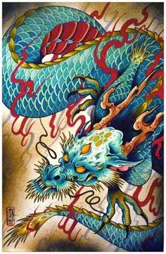 Tattoo Dragon Chinese Beautiful Ideas For 2019 Japanese Tattoo Designs, Japanese Tattoo Art, Japanese Art, Dragon Tattoo Colour, Dragon Tattoo Designs, Blue Dragon Tattoo, Tatoo Art, Body Art Tattoos, Japanese Dragon Tattoos