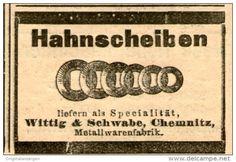 Original-Werbung/Anzeige 1906 - HAHNSCHEIBEN / WITTIG & SCHWABE - CHEMNITZ- ca. 55 X 35 mm