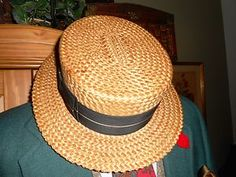 Early 1900's straw boater hat for men.  RARE vented top & mesh liner.  #Gatsby #vintage #menswear