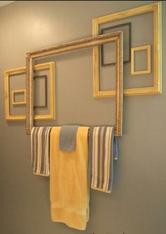 Frames as towel rack. Genius.