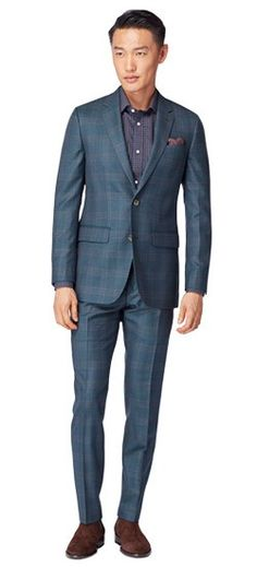 The perfect Men s Custom Suit in Deep Teal Glen Plaid Suit fabric, styled  for your 787364c7608