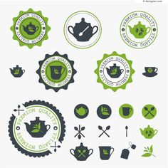 Green tea cup label vector material