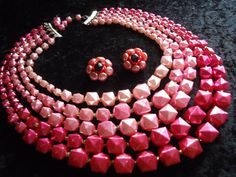 SALE Vintage Pink 5 Strand Beaded Necklace by MartiniMermaid
