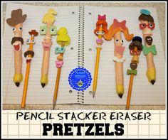 hoopla palooza: pencil stacker eraser pretzels