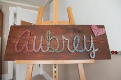 Nail and String Art. Wedding gift, bridal shower gift, baby shower, children's room decor, or for your new home.