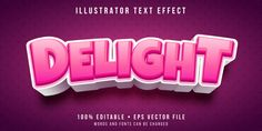Editable Text Effect - Delightful Pink Text Style Food Logo Design, Text Design, Game Design, Typography Alphabet, Typography Logo, Lettering, Video Game Logos, Kit Games, 3d Text Effect