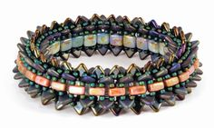 Breezeway Bangle featuring the CzechMates Triangle and Lentil beads by Nichole Starman