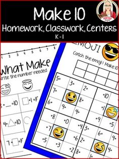 *Emoji Make Ten Addition Fluency* 24 B&W pages for classwork, homework, or assessment.  Color and B&W.