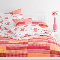 Island Percale Bedding (Pink Flamingo) King