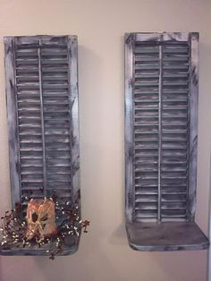 Old wooden shutters, turned wall sconces! So cute!!!  By Country Crow Creations  facebook.com/countrycrowcreations