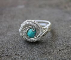 Turquoise Silver Handmade Heady Wire Wrap ring// by TendaiDesigns