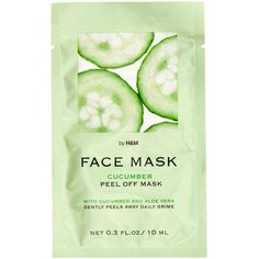 H&M Face mask ($1.43) ❤ liked on Polyvore featuring beauty products, skincare, face care, face masks, fillers, beauty, makeup, green fillers, cosmetics and cucumber