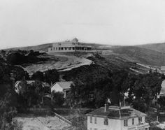View of Fort Moore Hill, showing the home (upper center) of Mary Hollister Banning, formerly a beer hall built by Jacob Philippi, ca. 1887   Security Pacific National Bank Collection, courtesy of the Los Angeles Public Library