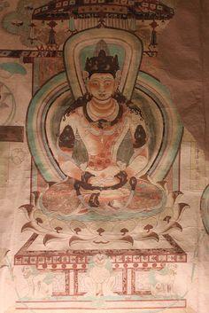 Spread of Buddhism- The Mogao Caves found on the crossroads of the silk road in Gansu China Chinese Buddhism, Buddhist Art, Tempera, Fresco, Dunhuang, Buddhist Philosophy, Gautama Buddha, China Art, Silk Road