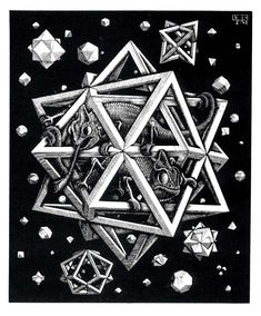 MC Escher - Stars; wood engraving, 1948