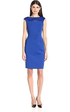 Calvin Klein Women's Cap Sleeve Sheath Dress with Front Cut Out, Regatta, 4 ❤ Calvin Klein Women's Dresses