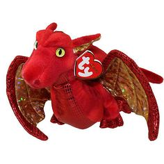 Ty Classic Fossils Dragon Red & Gold Plush 2007 MWT Stuffed Animal for sale online Beanie Babies Value, Beanie Baby Bears, Ty Beanie Boos, Baby Dragon, Red Dragon, Expensive Beanie Babies, Ty Babies, Baby Queen, Beanie Buddies
