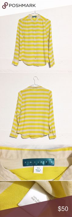 Pim + Larkin Yellow Striped Blouse. 100% silk. Pim + Larkin Yellow Striped button down Blouse with a mandarin collar. Bright and lightweight for spring! 100% silk. Open to offers. No trades. Pim + Larkin Tops Blouses