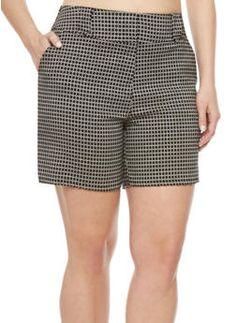 Plus Size Twill Shorts with Geometric Print,BLACK