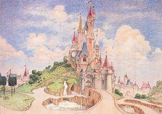 Disney Concept Art, Disney Art, Disney Pixar, Disneyland Paris, Castle Illustration, Walt Disney Imagineering, Park Art, Historical Images, Parcs