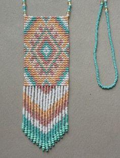 Beaded necklace seed bead jewelry beaded pendant by Olisava