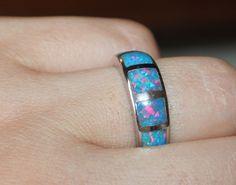 fire opal ring gemstone silver jewelry Sz 7.75 modern elegant wedding band  HBBE