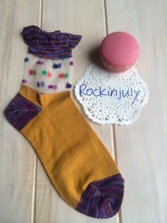 ♥ Trendy socks half in sheet mesh panel with multiple polka dots on, contrast with stretch cotton fabric in solid colour.