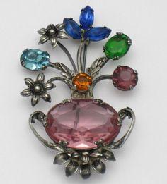 CORO Sterling 1940s Glass Figural Flower Vase Pin Brooch
