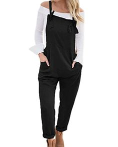 c80373acef LVCBL Women Adjustable Strap Overall Sleeveless Playsuit Jumpsuit Dungarees  Romper Black 2XL Baggy Dungarees