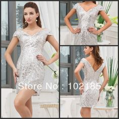 Cheap silver metallic dress, Buy Quality silver dress gloves directly from China dress handbag Suppliers:Fashion Column V-neck Cap Sleeve Mini Length Short Silver Sequins Sexy Bling Bling Cocktail Dresses  Product Name Fashio